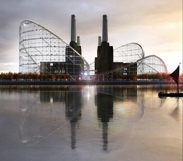 Les architectes de l'agence AZC ont imaginé l'installation de montagnes russes autour de la célèbre centrale électrique londonienne de Battersea. Copyright : Atelier Zündel Cristea