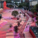 """""""Superkilen"""", un espace public mêlant les usages et les cultures. © Agence BIG"""