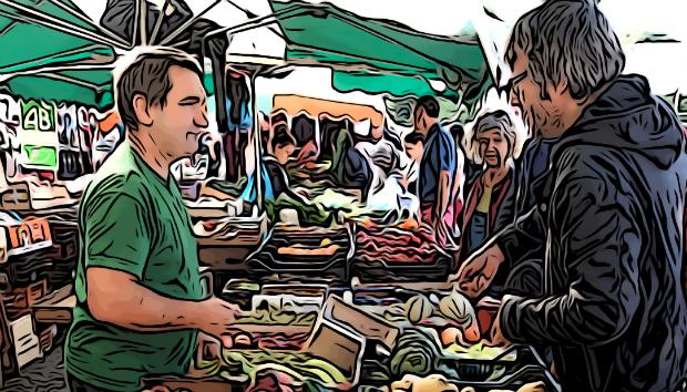Un dessin d'un marché