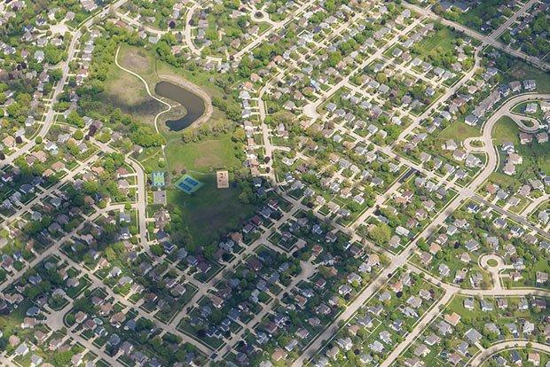 image aerienne du quartier de la ville de chicago