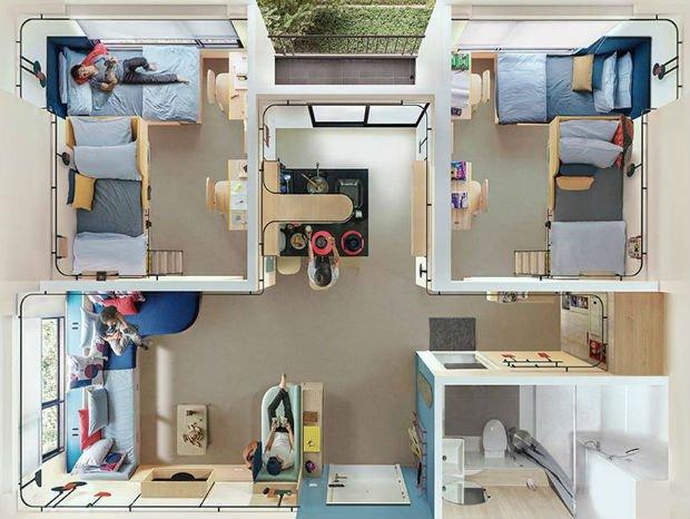 Les chambres individuelles peuvent être réduites jusqu'à une dizaines de mètres carré