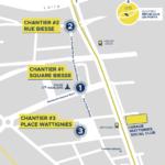 Carte de localisation des trois chantiers participatifs et du tiers-lieu Wattignies Social Club le long de la rue de Biesse, dans le quartier de République