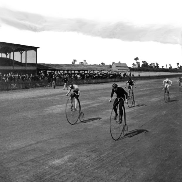 George Barker, c1890, Niagara Falls, NY, USA: Boneshaker bicycle racers at the finish line.