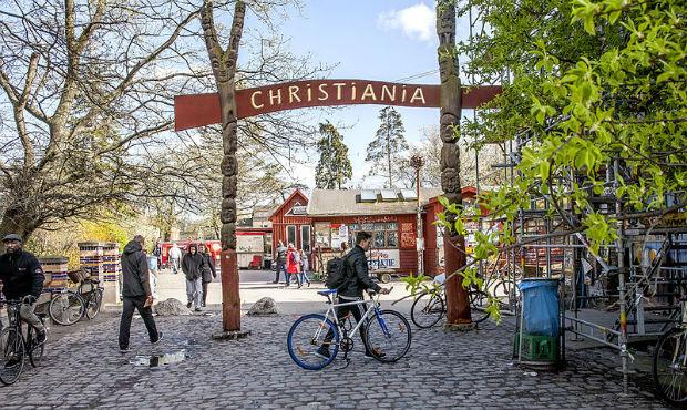 Entrée du quartier informel Christiania à Copenhague
