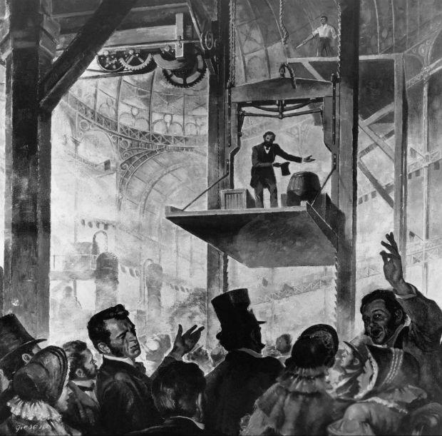 Démonstration du frein de chute (par parachute) par Elisha Otis au Crystal Palace en 1853