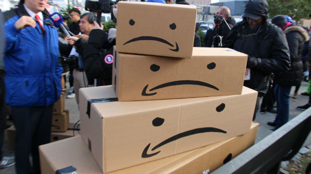 Manifestation contre l'installation d'Amazon dans le Queens à New York
