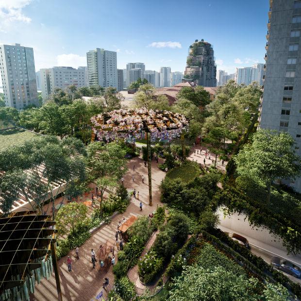 Perspective 3D des espaces extérieurs où se localisera le marché organique de la Cidade Matarazzo, imaginé par les frères Campana