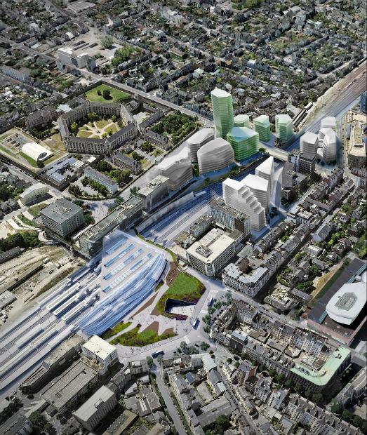 En vert, le futur ensemble architectural comprenant le siège social de SAMSIC