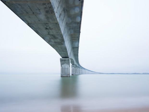 Pont en béton de l'île de Ré, Rivedoux-Plage en France