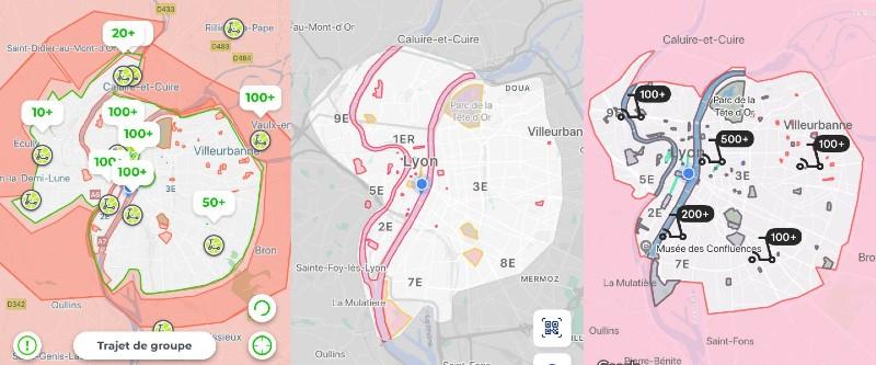 Captures d'écran des zones de couverture des différents opérateurs de trottinettes à Paris (Tier, Voi, Lime et Bird) - Alexandre Léchenet