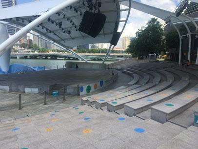 photographie d un amphitheatre avec des croix pour matérialiser le social distancing