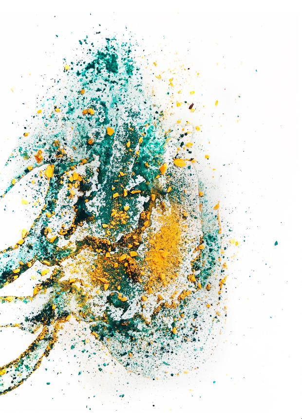 L'eau-énergie - Sédimentation alluviale. Travail à partir de farine et de pastels broyés - Karim Lahiani, 2020