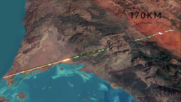 Les 170 km de The Line partent du littoral puis traversent le désert et les montagnes - Neom